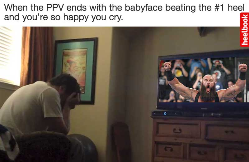 WWE Payback 2017 - Fan Crying when Strowman wins